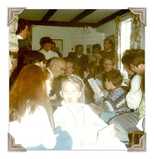 All ages gathered at the Bacharachs' house for the annual carol sing. This photo is from the early 1970s.