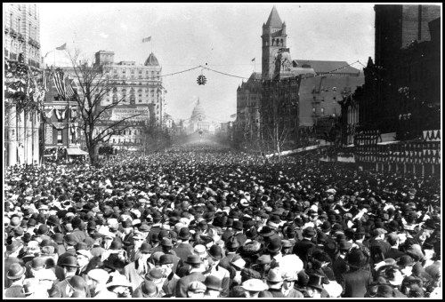 The women's suffrage parade marches down Pennsylvania Avenue on March 3, 1913. The National Park Service did not offer a crowd estimate.