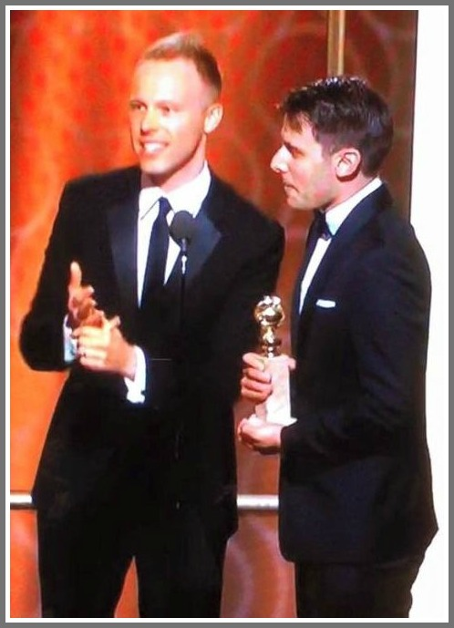 """Justin Paul (left) and Benj Pasek, moments after learning they'd won a Golden Globe for writing the lyrics to """"La La Land."""""""
