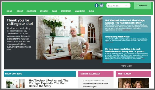 Part of the home page of WestportMoms.com