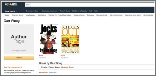 My Amazon author page before Sandra Long went to work. Only 2 of my books were listed -- and I had no author bio.