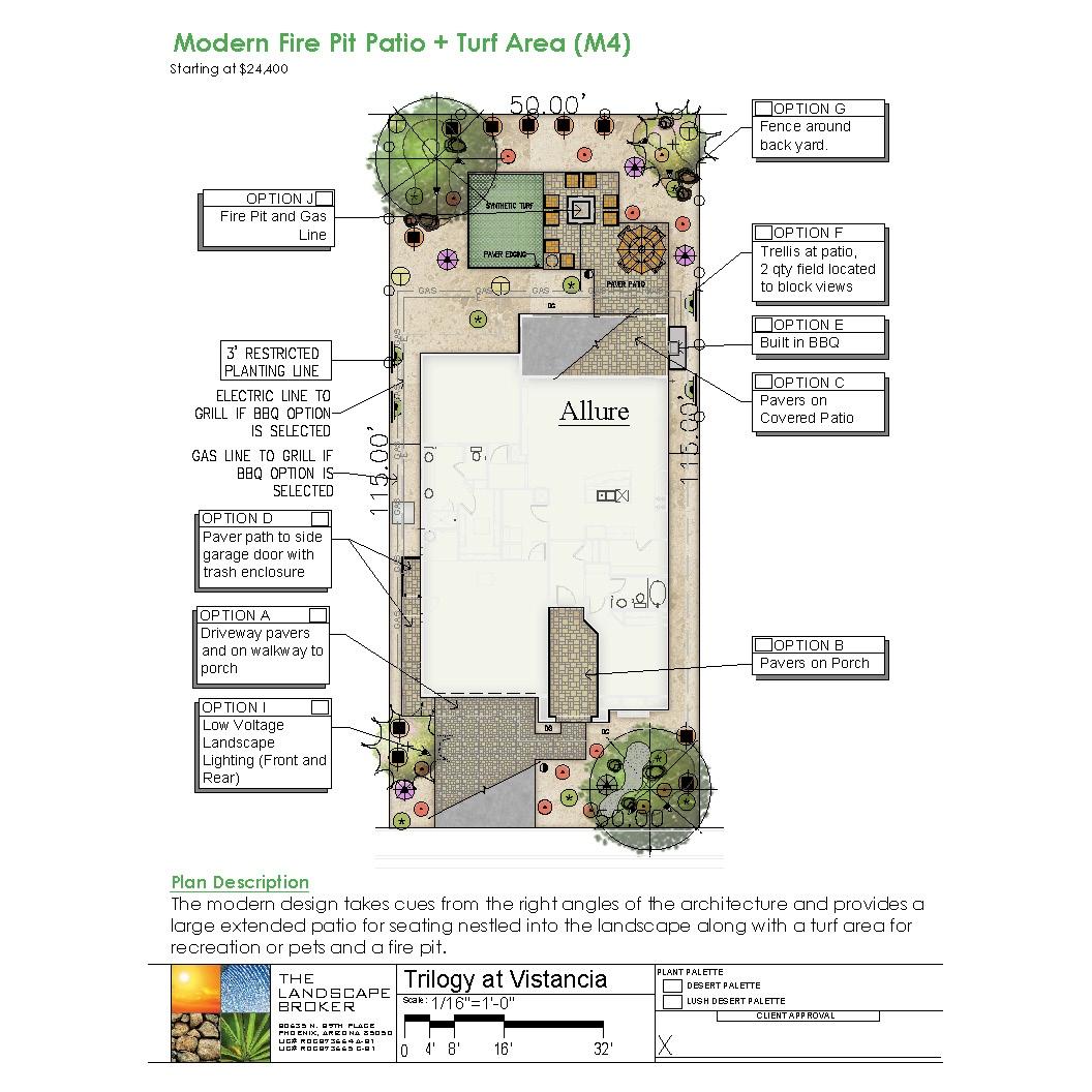Allure, Modern Fire Pit Patio + Turf Area (M4)