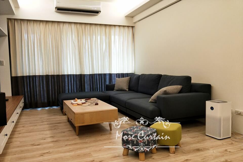 時尚現代風格窗簾、客製化雙色接布精選案例