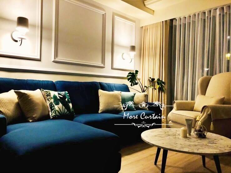 客廳窗簾設計 蛇行簾 古典風