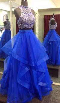 Royal Blue Two Piece Prom Dresses,Beaded Bodice Tulle ...