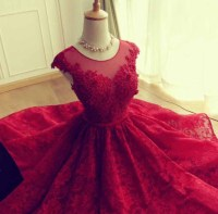 Cap Sleeve Burgundy Lace Prom Dress, Knee Length Elegant ...