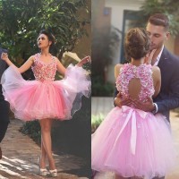 Short Pink Homecoming Dress, Sexy Handmade Flowers ...