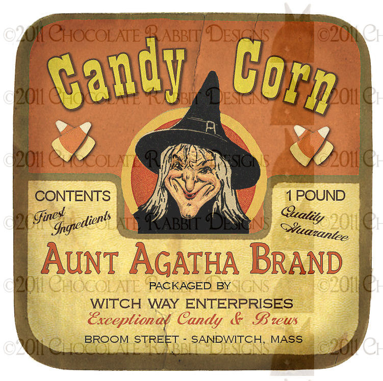 Vintage Halloween Witch Candy Label Digital Download