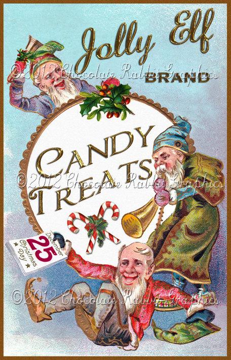 Christmas Vintage Label Tag Candy Digital Download Collage