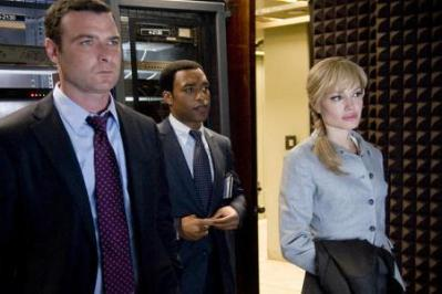 """Liev Schreiber as """"Ted Winter"""", Chiwetel Ejiofor as """"Peabody"""" and Angelina Jolie as """"Evelyn Salt"""" in Columbia Pictures' contemporary action thriller SALT."""