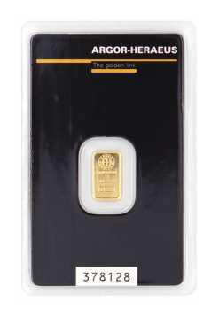 1 g Goldbarren von Argor-Heraeus
