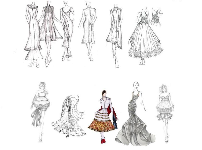Fashion Design Sketches Of Dresses Black And White