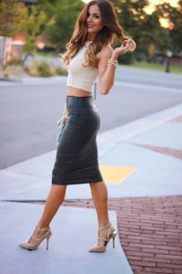 Leather Pencil Skirt Crop Top 2015-2016 | Fashion Trends ...