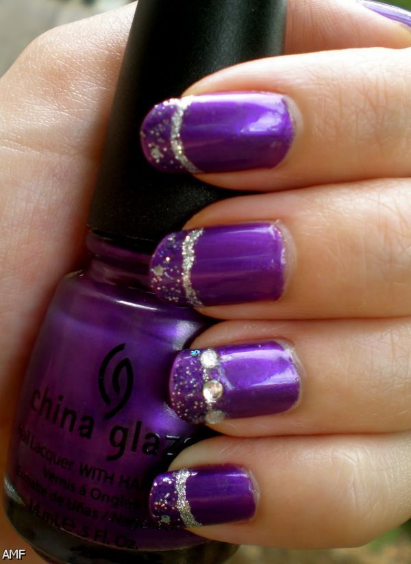 Dark Purple And Silver Nail Designs 2015
