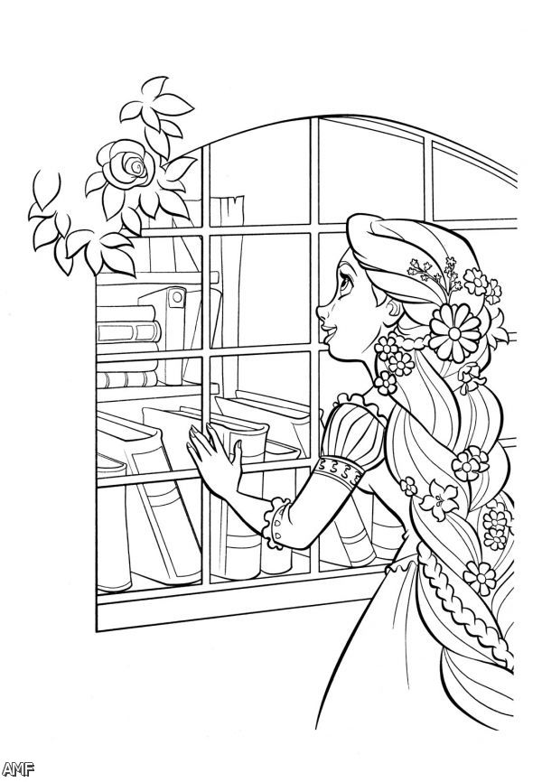 Disney Princess Rapunzel And Flynn Coloring Pages