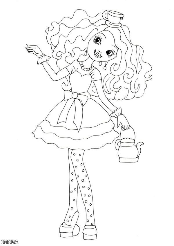 Ever After High Coloring Pages Madeline Hatter 2015-2016
