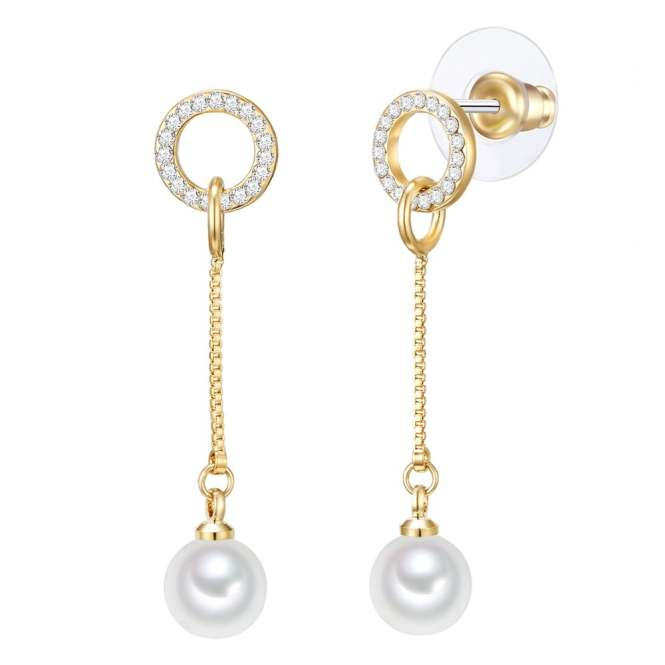 Perlové náušnice Nova Pearls Copenhagen Goldie Laura