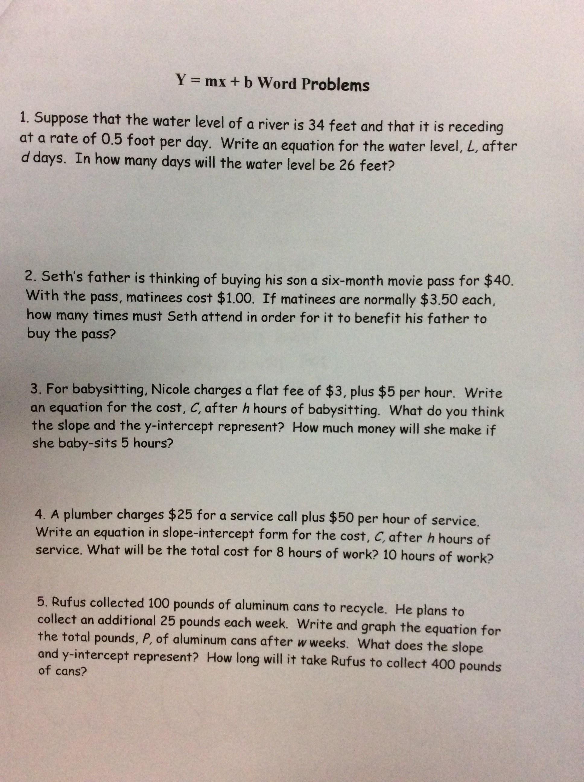 Y Mx B Word Problems Worksheet