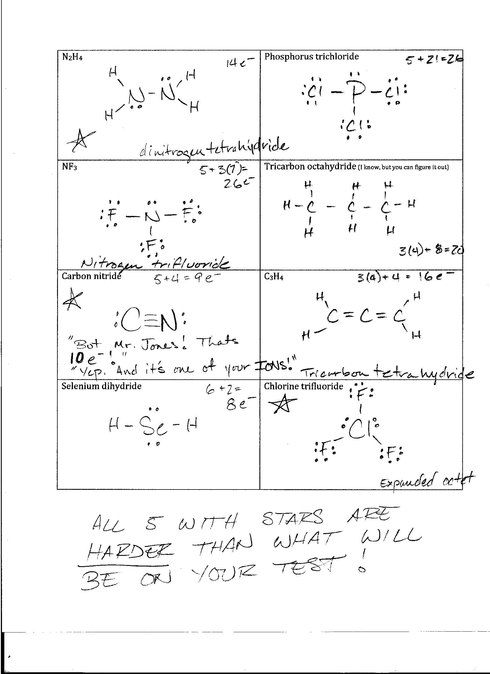 Worksheet Lewis Structure Completed