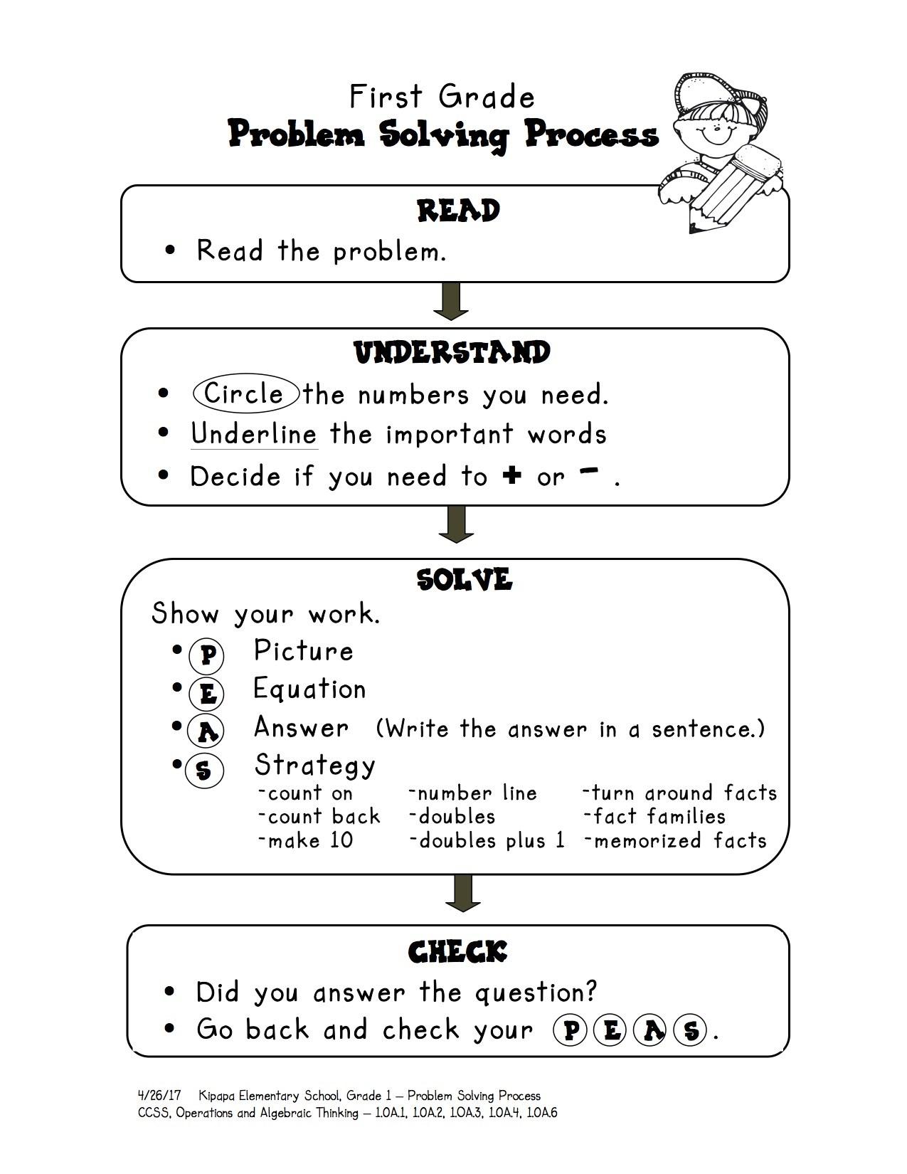 First Grade Problem Solving Process 1st Grade Kipapa