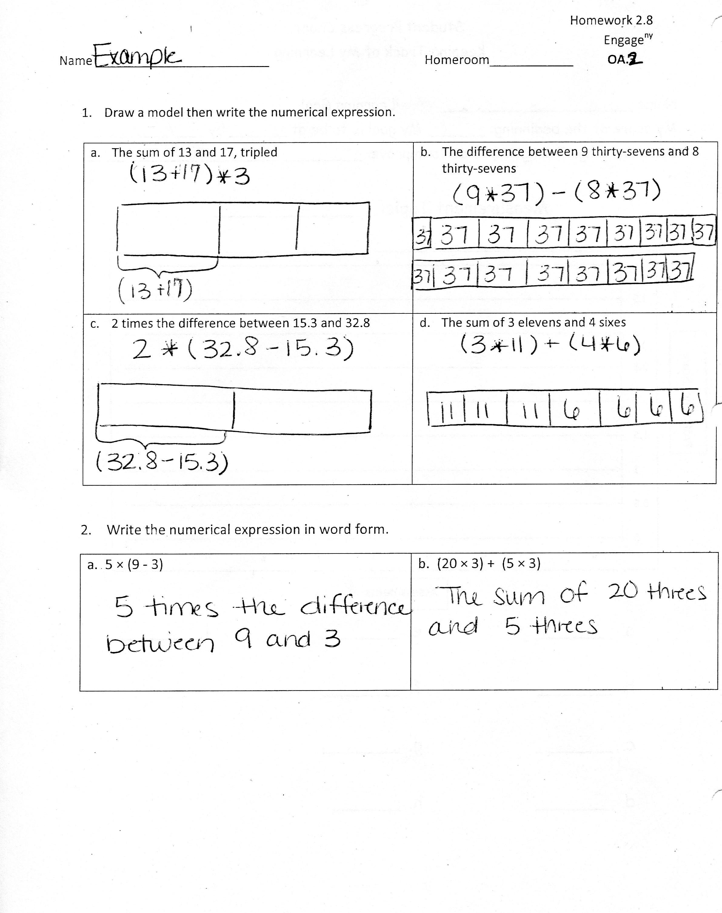 Eureka Math Worksheet And Answers