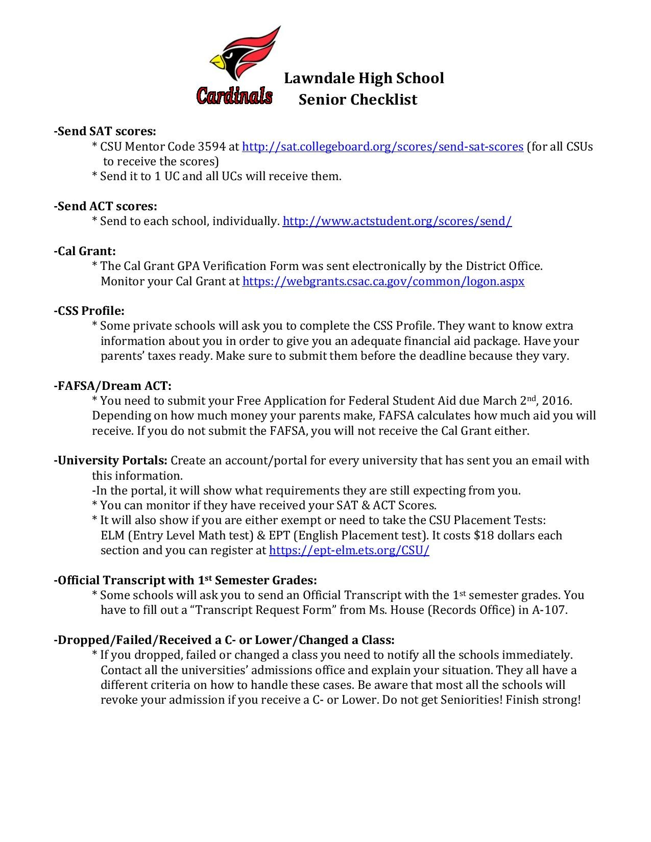 Senior Checklist Counseling Lawndale High School