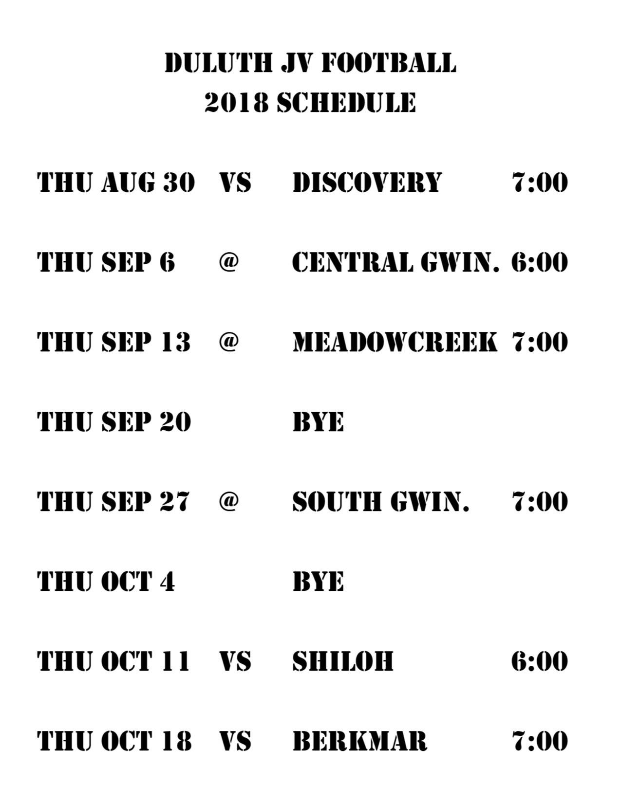 2018 JV Schedule – Football