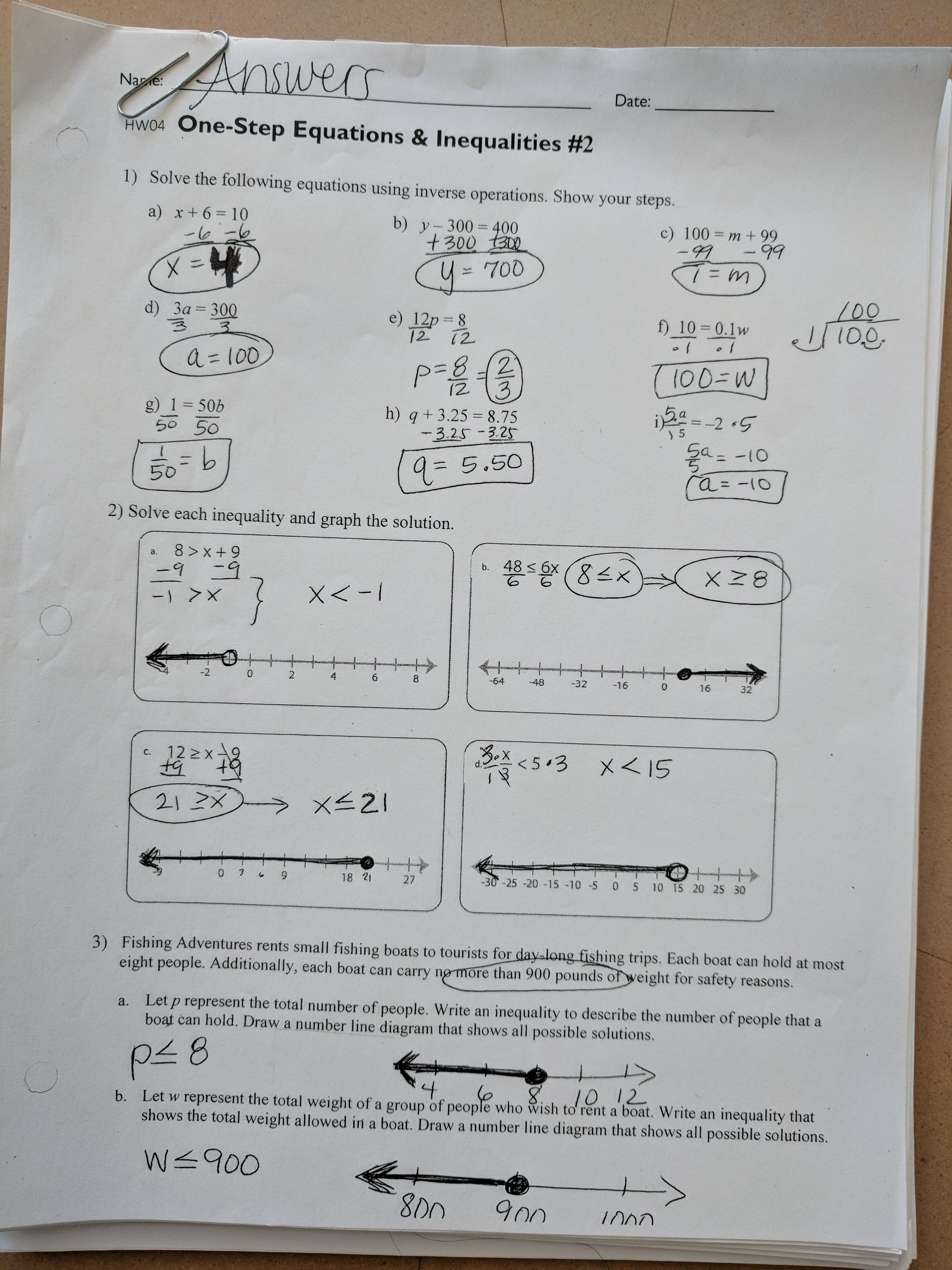 Math Worksheets Grade 7 One Step Equations