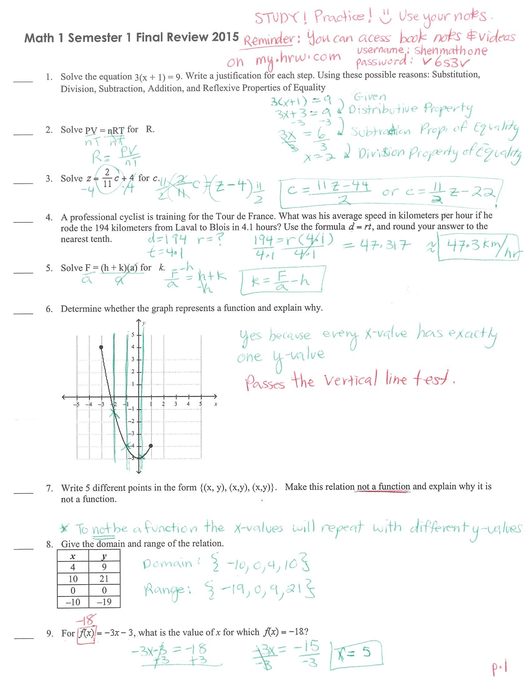 Module 5 Writing Linear Equations Quiz D