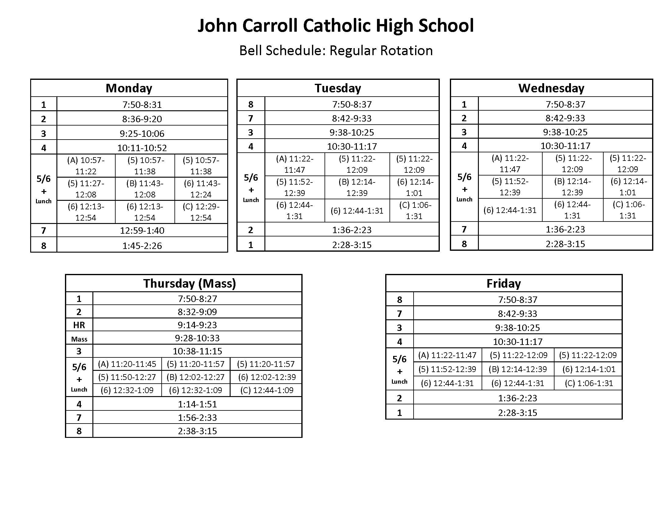 Bell Schedule – Students