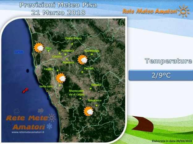Previsioni meteo a Pisa: freddo e vento