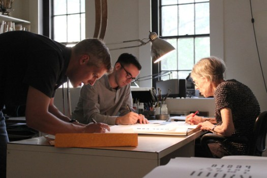 Craig Welsh, Nicholas Stover, and Elaine Lustig Conhen working on the early renderings of the font