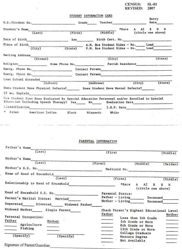 School Forms – Parents