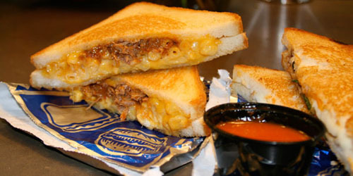 The Cheesy Mac n Rib Melt BBQ pork, macaroni and cheese in a grilled cheese sandwich. (via The Grilled Cheese Truck)