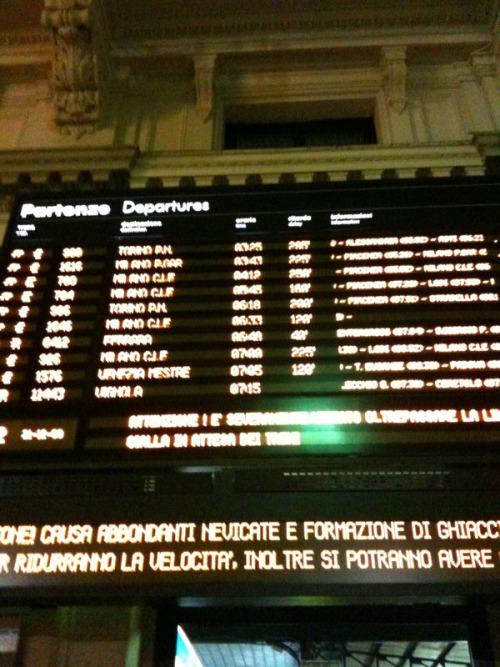 Stazione di Bologna, 21 dicembre, h. 7.20