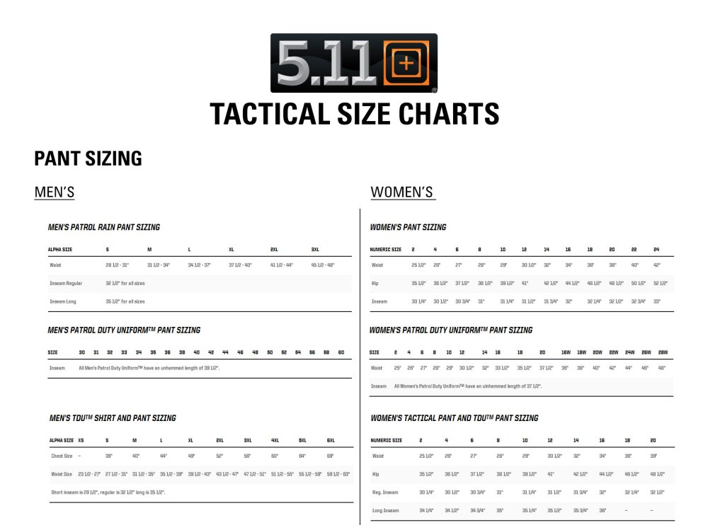 medium resolution of check 5 11 tactical sizing chart to find your pant size here