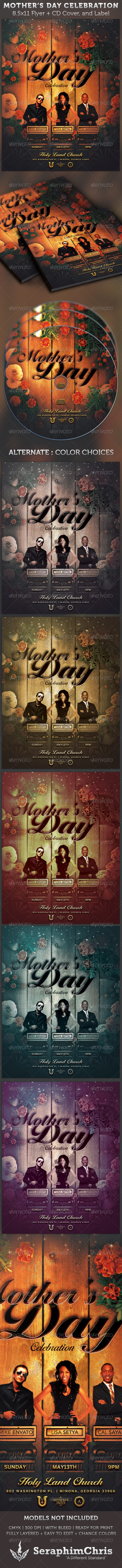 Mother's Day Celebration Flyer and CD Cover - Church Flyers