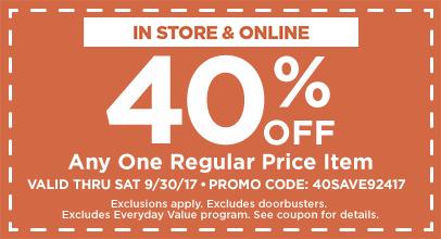 40% OFF Any Regular Price Item