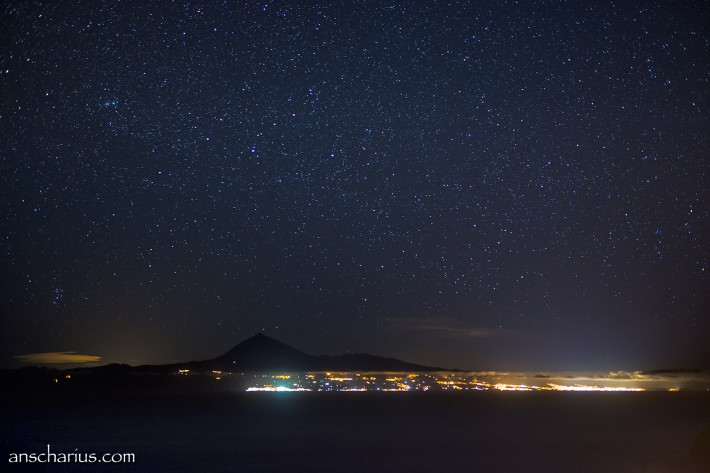 Tenerife at night seen from Hermigua on La Gomera