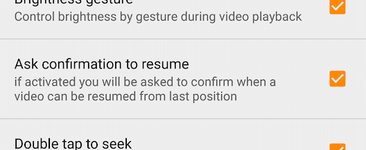 Pause Or Resume Playback Options In Vlc For Android