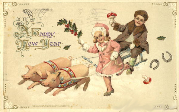 vintage goret pig new year luck