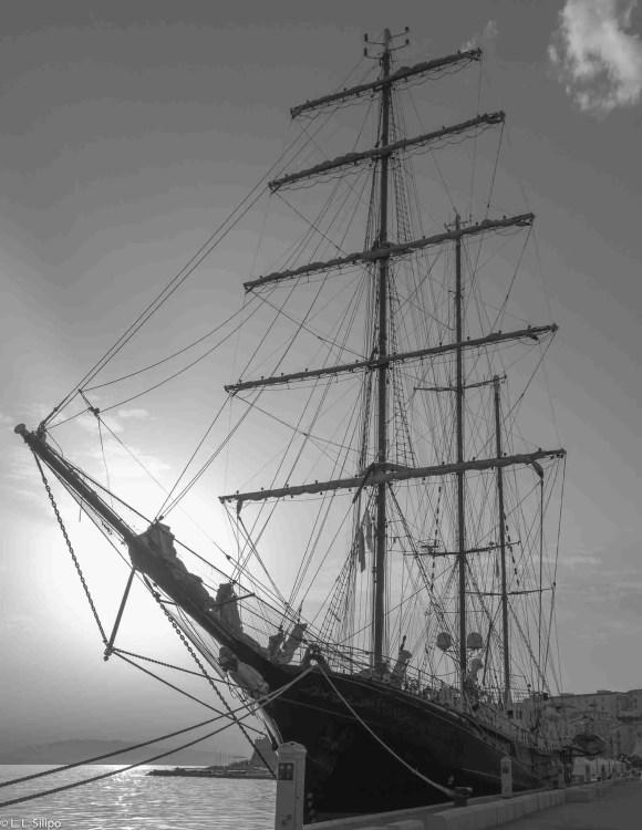 blue, boat, cruise, europe, gaeta, harbor, italy, lady, mediterranean, nautical, navigation, old, port, race, rope, sail, sailboat, school, sea, ship, sky, tall, water, waves, wind