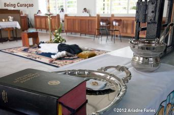 "Ariadne took this photo at a ""Profesión Solemne"" while a nun made her eternal vows: promising to sacrifice her life and be faithful to the Monastery/Catholic church, the Mother superior and God. ""Her promise is based on poverty, chastity and obedience. On this day she married Jesus Christ and received a ring she will wear on her right hand. This ritual has never been documented on the island. I am very close to these extraordinary women and they have given me the honor to be the first one. I take a lot of pride in the photographs. Many people don't know that this centuries-old ritual still takes place today in the cloistered monasteries."" - Ariadne Faries"