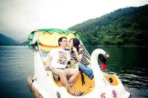 Honeymoon couple boat