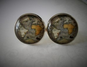 Map cuff links from Bejeweled Vintage.