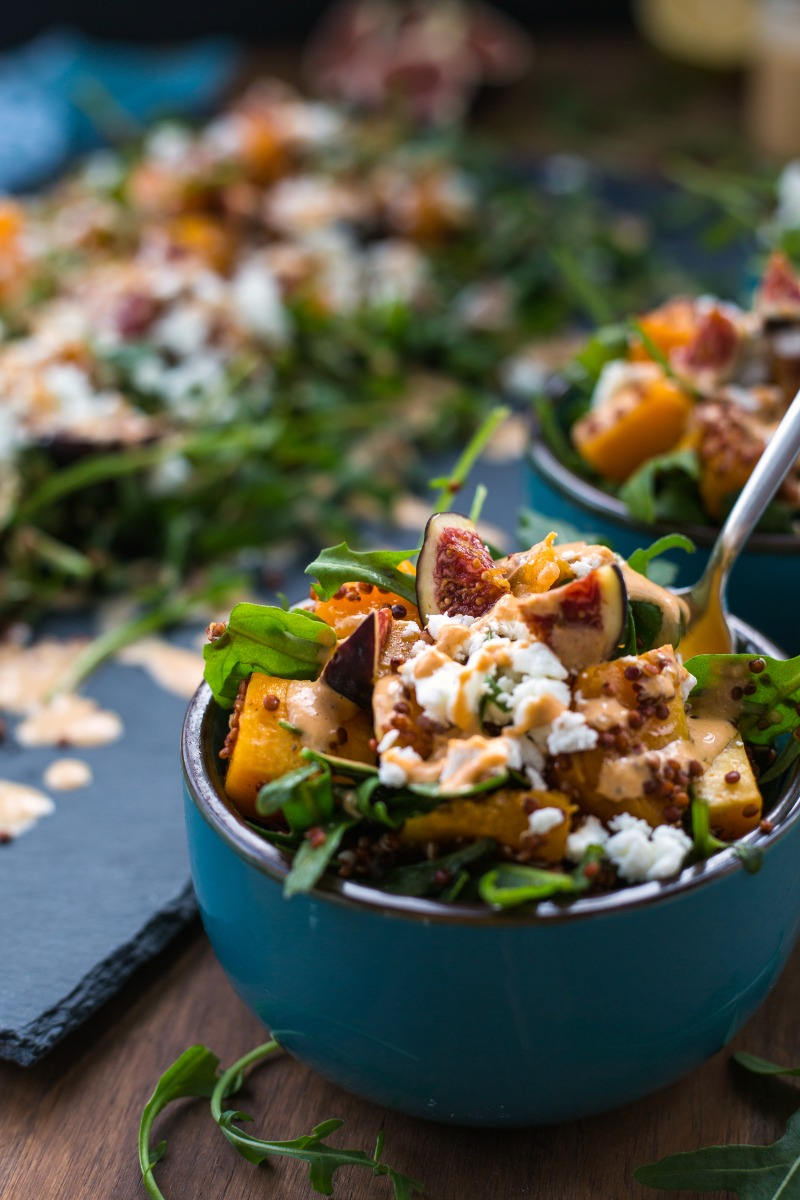A healthy and flavorful fall salad combining sweet and hearty components. The Tahini dressing adds a nice creamy and tart touch. A flavor and texture divers eating experience!