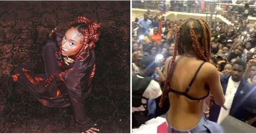 Must See: The Moment Ayra Starr Removed Her Top During UNIBEN Show (Video)