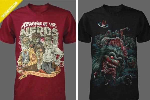 Camisetas terror nerds critters