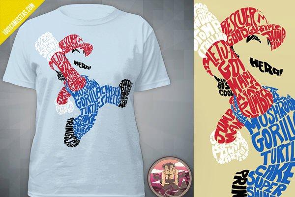 Camisetas super mario tipografico
