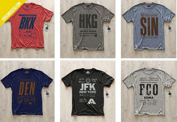 Camisetas aereopuertos ciudades